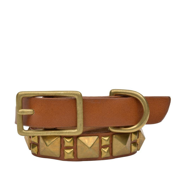 "Handmade tan leather 12"" Dog Collar with brass studs artwork - Calleen Cordero Designs"