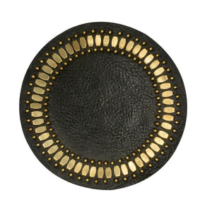 handmade olive leather coaster with brass studs artwork - Calleen Cordero Desings