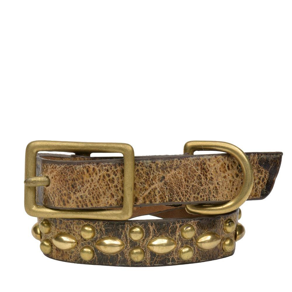 "Handmade brown cracked leather 12"" Dog Collar with brass studs artwork - Calleen Cordero Designs"