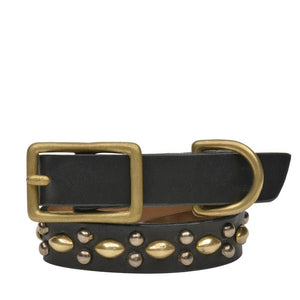"Handmade black leather 12"" Dog Collar with brass and nickel studs artwork - Calleen Cordero Designs"