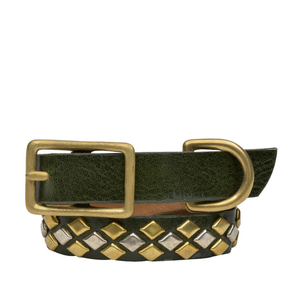 "Handmade green olive leather 12"" Dog Collar with brass and nickel studs artwork - Calleen Cordero Designs"