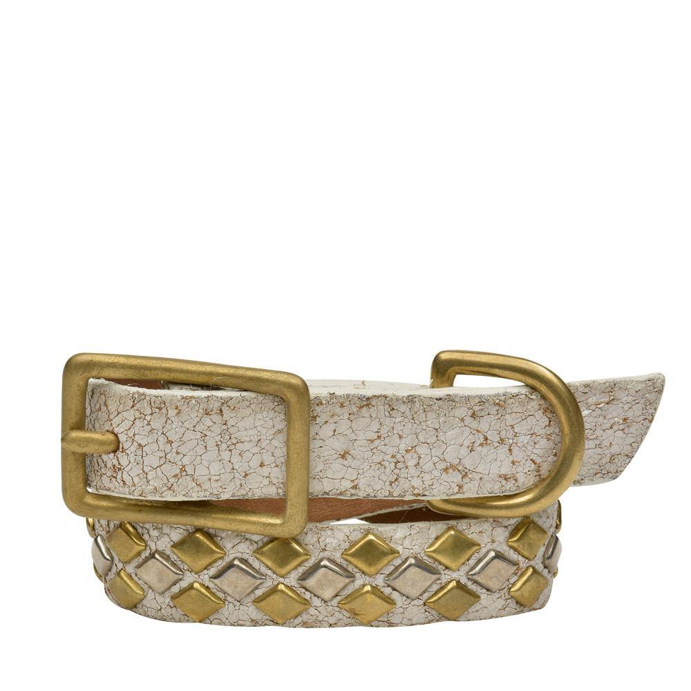 "Handmade white cracked leather 12"" Dog Collar with brass and nickel studs artwork - Calleen Cordero Designs"