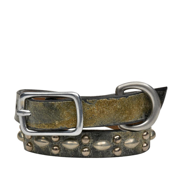 "Handmade black and green leather 12"" Dog Collar with nickel studs artwork - Calleen Cordero Designs"