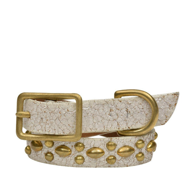 "Handmade white cracked leather 12"" Dog Collar with brass studs artwork - Calleen Cordero Designs"
