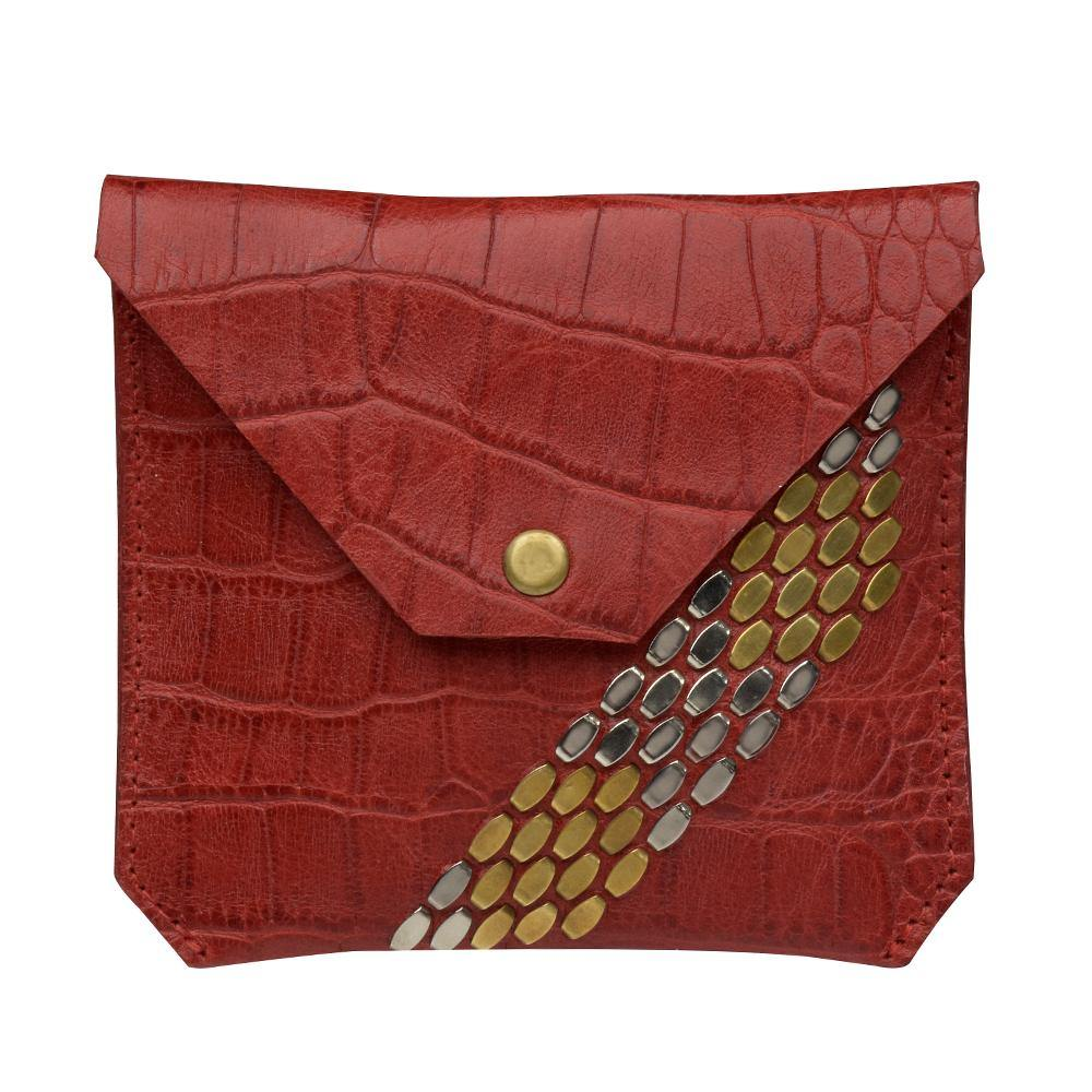 handmade red croc stamped leather coin purse for women with nickel and brass studs artwork - Calleen Cordero Designs