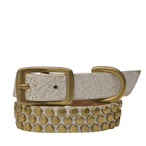 "Handmade white cracked leather 15"" Dog Collar with brass studs artwork - Calleen Cordero Designs"