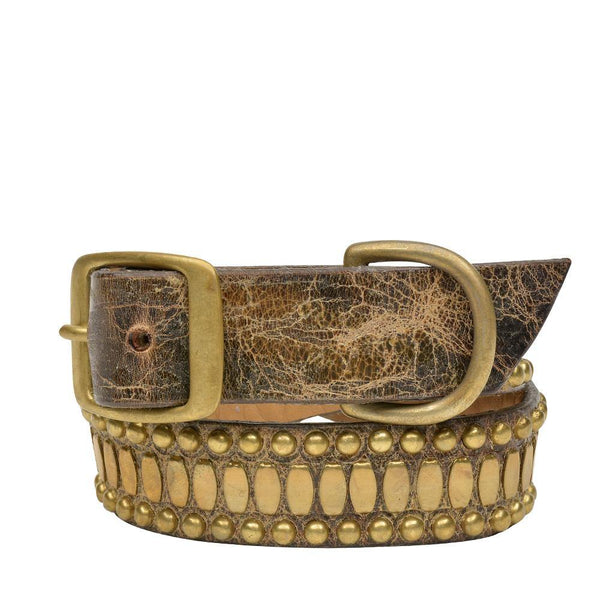 "Handmade brown cracked leather 19"" Dog Collar with brass studs artwork - Calleen Cordero Designs"