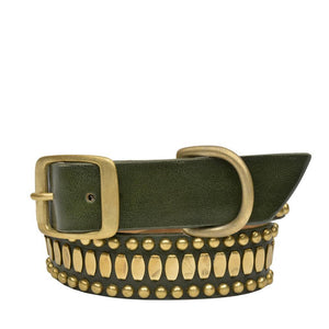 "Handmade green olive leather 19"" Dog Collar with brass studs artwork - Calleen Cordero Designs"
