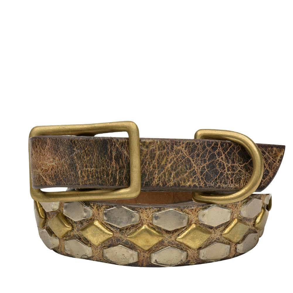 "Handmade brown cracked leather 12"" Dog Collar with brass and nickel studs artwork - Calleen Cordero Designs"