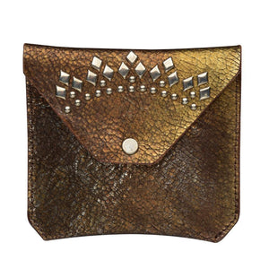 handmade metallic copper cracked leather coin purse for women with nickel studs artwork - Calleen Cordero Designs