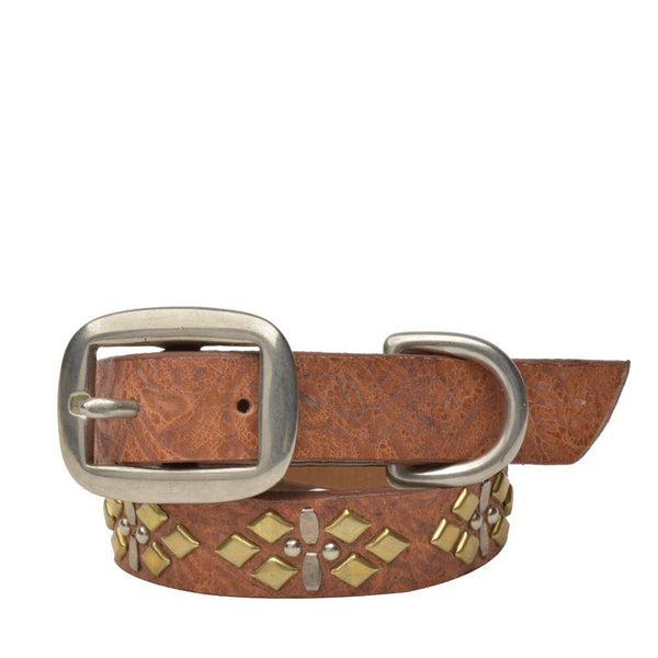 "Handmade tan tooled leather 15"" Dog Collar with brass and nickel  studs artwork - Calleen Cordero Designs"
