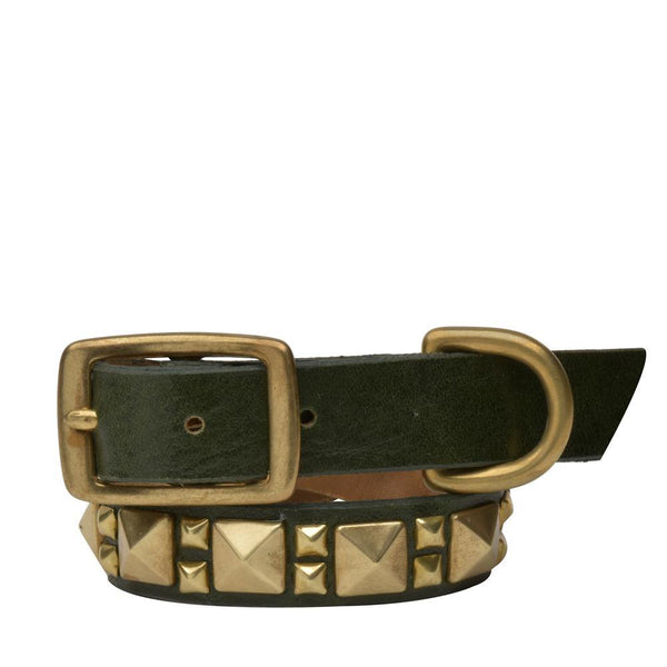 "Handmade green olive leather 15"" Dog Collar with brass studs artwork - Calleen Cordero Designs"