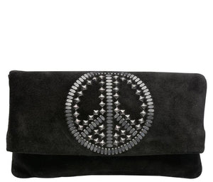 peace sign handmade black suede leather clutch handbag with nickel artwork