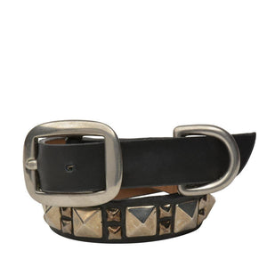 "Handmade black leather 15"" Dog Collar with nickel studs artwork - Calleen Cordero Designs"