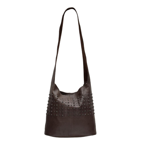 handmade brown leather messenger handbag for women with nickel studs artwork