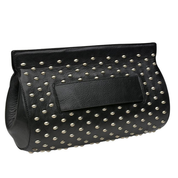 handmade black leather clutch handbag with nickel artwork on front sides and magnetic closure and back strap