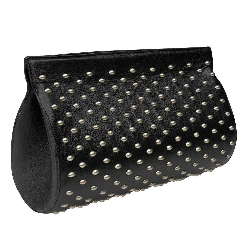 handmade black leather clutch handbag with nickel artwork on front sides and magnetic closure