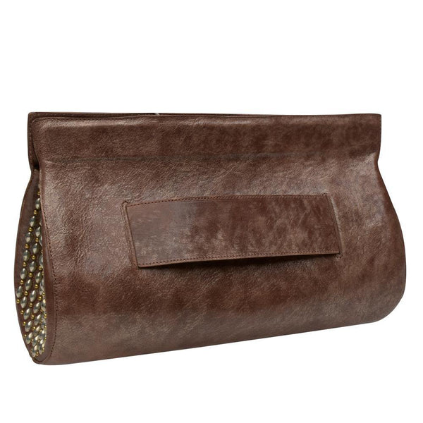 handmade rosegold leather clutch handbag with brass and nickel artwork on the sides and magnetic closure and side strap