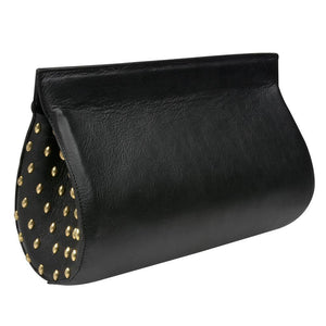 handmade black leather clutch handbag with brass artwork on the sides and magnetic closure