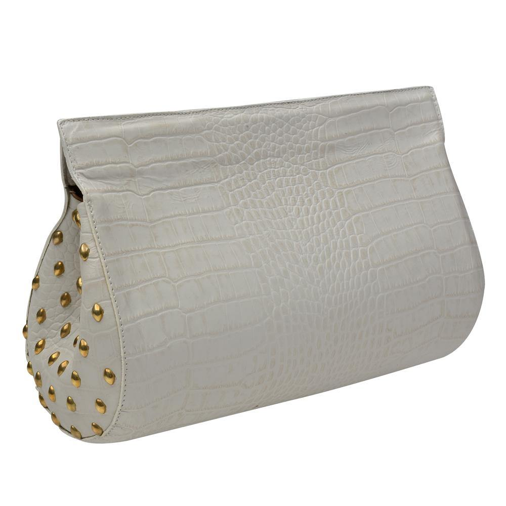 handmade white croc stamped leather clutch handbag with brass artwork on the sides and magnetic closure