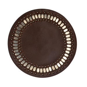 handmade dark brown leather coaster with nickel studs artwork - Calleen Cordero Designs