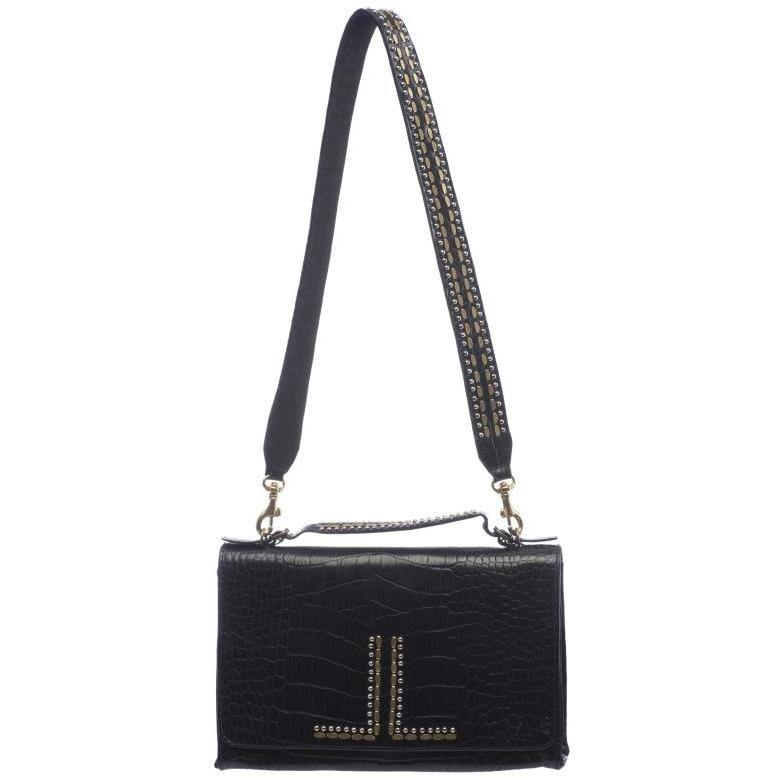 handmade black croc stamped leather handbag for women with nickel and brass studs artwork - Calleen Cordero Designs