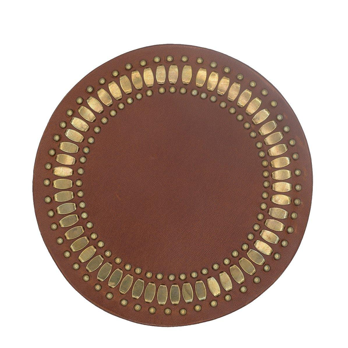 Concha Coaster Cinnamon Leather Set of Two