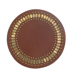 Concha Coaster Cinnamon Leather Set of Two - CalleenCordero