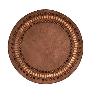 handmade copper pearl leather coaster with copper studs artwork - Calleen Cordero Designs
