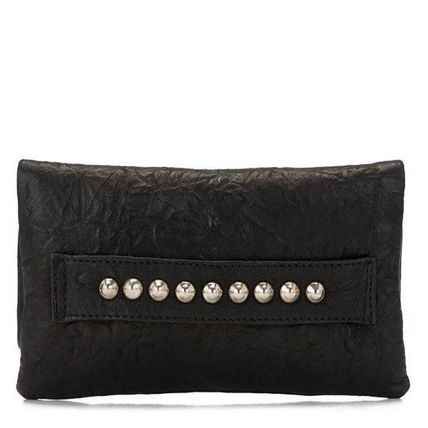 handmade black leather clutch handbag for women with nickel pyramid studs on front - Calleen Cordero Designs
