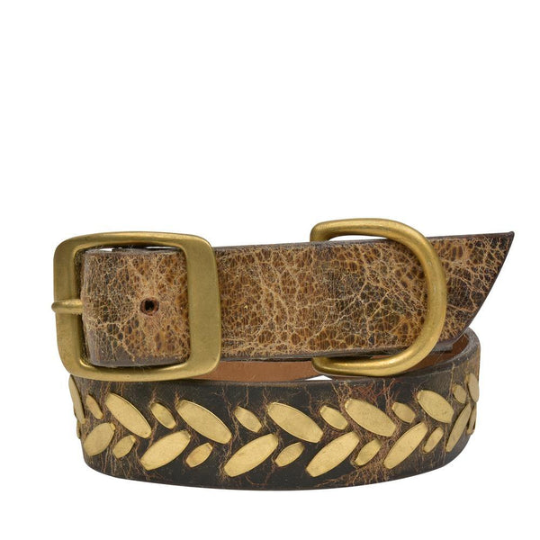 "Handmade brown cracked leather 20"" Dog Collar with brass studs artwork - Calleen Cordero Designs"
