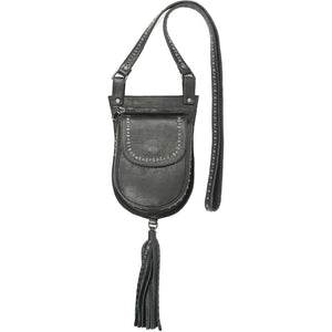 handmade black leather messenger handbag for women with black studs artwork - Calleen Cordero Designs