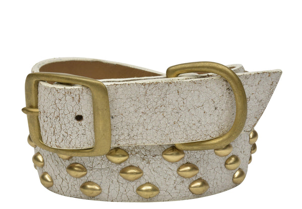 "Handmade white cracked leather 22"" Dog Collar with brass studs artwork - Calleen Cordero Designs"