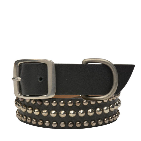 "Handmade black leather 19"" Dog Collar with nickel studs artwork - Calleen Cordero Designs"