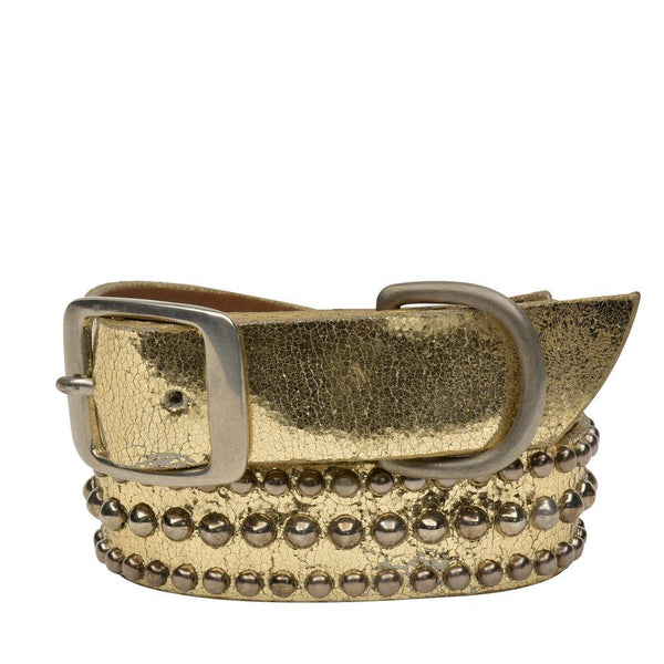 "Handmade gold mirror leather 22"" Dog Collar with nickel studs artwork - Calleen Cordero Designs"