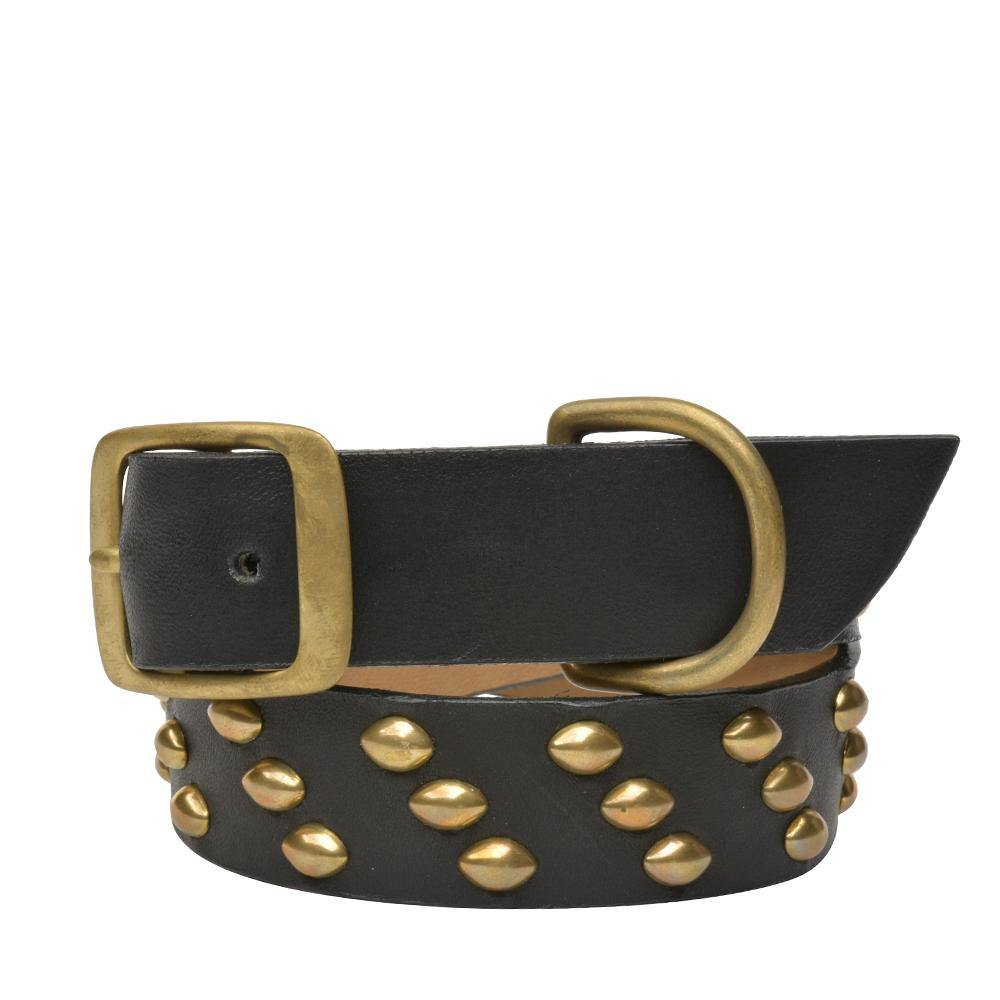 "Handmade black leather 22"" Dog Collar with brass studs artwork - Calleen Cordero Designs"