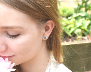 Silver Moonstone Studs / June Birthstone / Ready to Ship