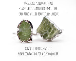 Silver Peridot Statement Ring / August Birthstone / Ready to Ship