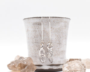 Silver Quartz Dangle Earrings / Ready to Ship