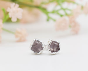 Silver Rose Quartz Stud Earrings / Made to Order