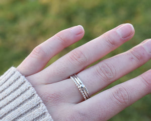 Stackable Beaded Ring / Sterling Silver / Made to Order