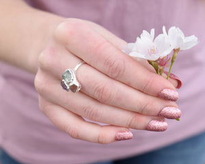 Rose Quartz, Ametrine, Green Amethyst Cluster Ring / Silver / Ready to Ship
