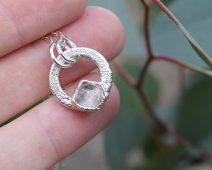 Solitare Rose Quartz Circle Necklace / Silver / Ready to Ship