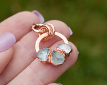 Load image into Gallery viewer, Copper Aquamarine Circle Necklace / March Birthstone / Made to Order