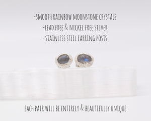 Silver Rainbow Moonstone Stud Earrings / June Birthstone / Ready to Ship