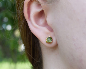Peridot Stud Earrings / 14k Gold / August Birthstone / Ready to Ship