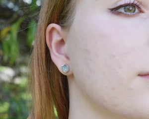 Silver Aquamarine Stud Earrings / March Birthstone / Made to Order