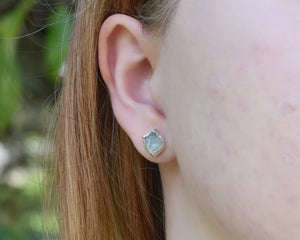 Rhodium Silver Apatite Stud Earrings / Ready to Ship