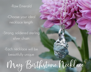 Silver Emerald Necklace / May Birthstone / Ready to Ship