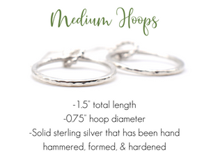 Medium Hoop Earrings / Silver / Made to Order